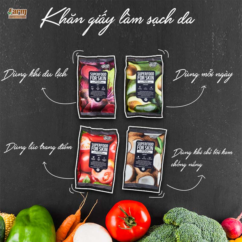 Khăn Ướt Tẩy Trang Farmskin Superfood For Skin Cleansing Wipes 25 Tờ