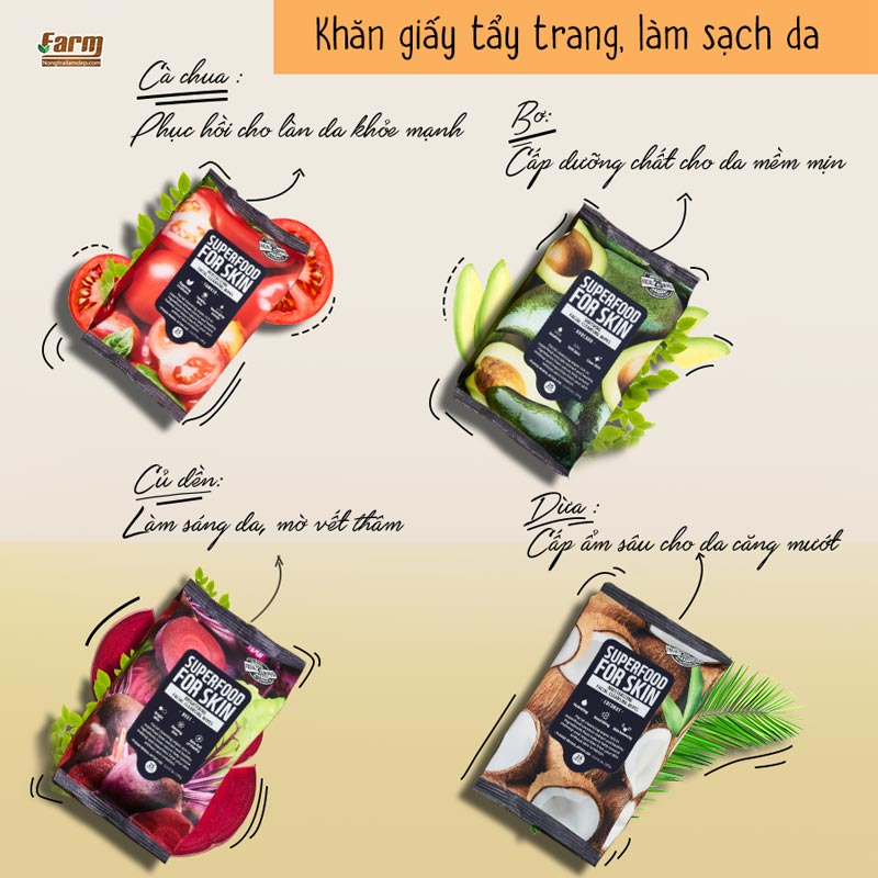 Khăn Ướt Tẩy Trang Farmskin Superfood For Skin Cleansing Wipes