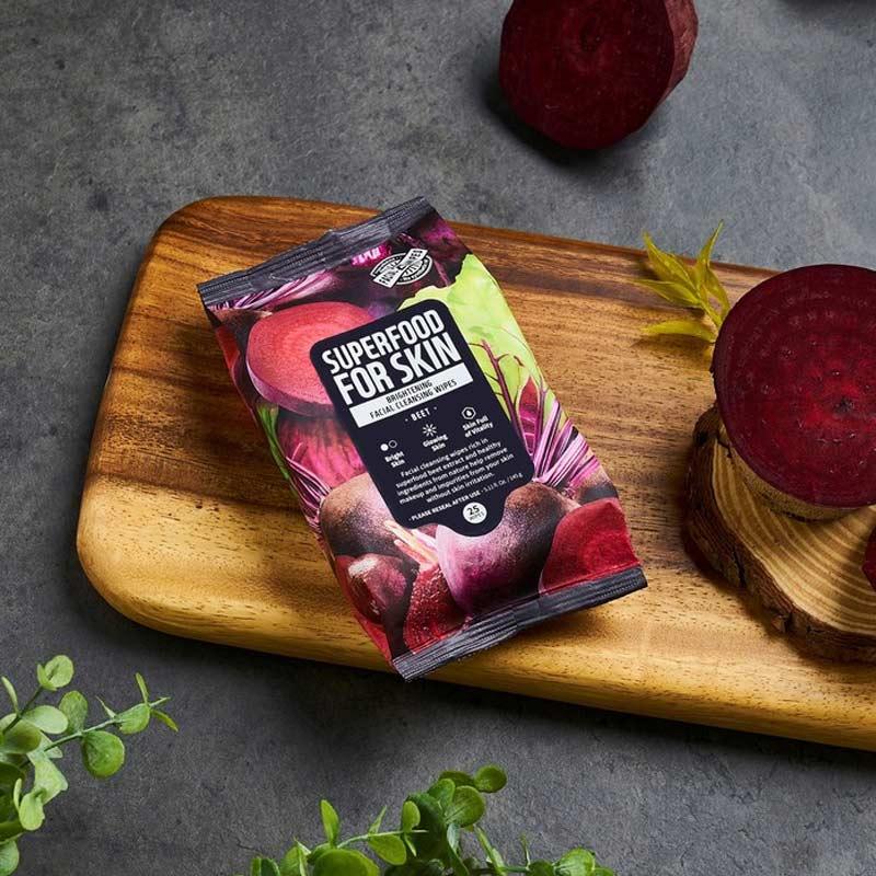 Khăn Ướt Tẩy Trang Farmskin Từ Củ Dền Làm Sáng Da Superfood For Skin Cleansing Wipes - Beet