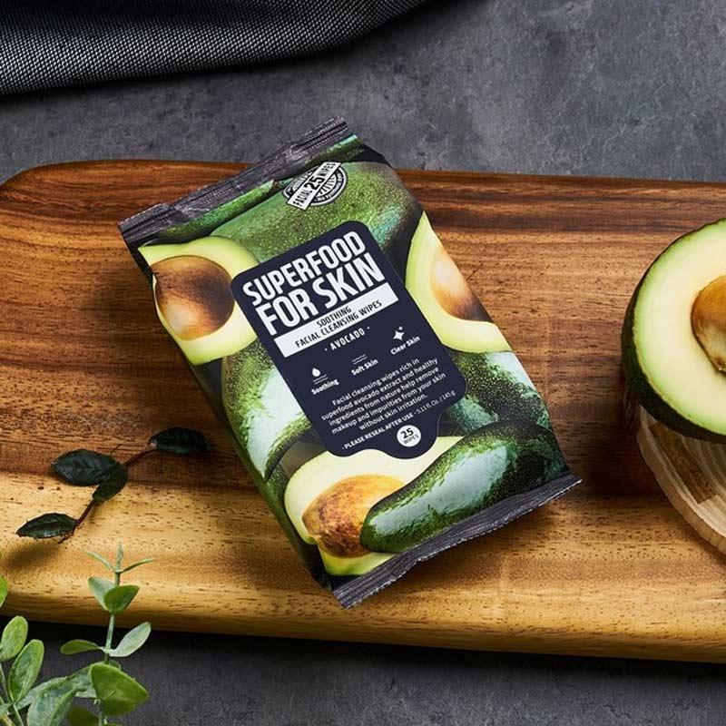 Khăn Ướt Tẩy Trang Farmskin Từ Quả Bơ Làm Mềm Mịn Da Superfood For Skin Cleansing Wipes – Avocado