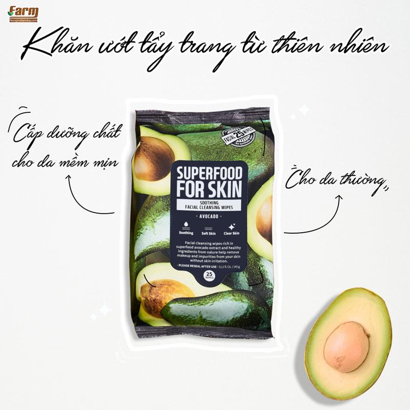 Khăn Ướt Tẩy Trang Farmskin Từ Quả Bơ Làm Mềm Mịn Da Superfood For Skin Cleansing Wipes – Avocado 25 tờ