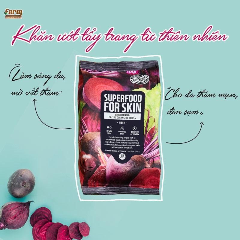 Khăn Ướt Tẩy Trang Farmskin Từ Củ Dền Làm Sáng Da Superfood For Skin Cleansing Wipes - Beet 25 tờ