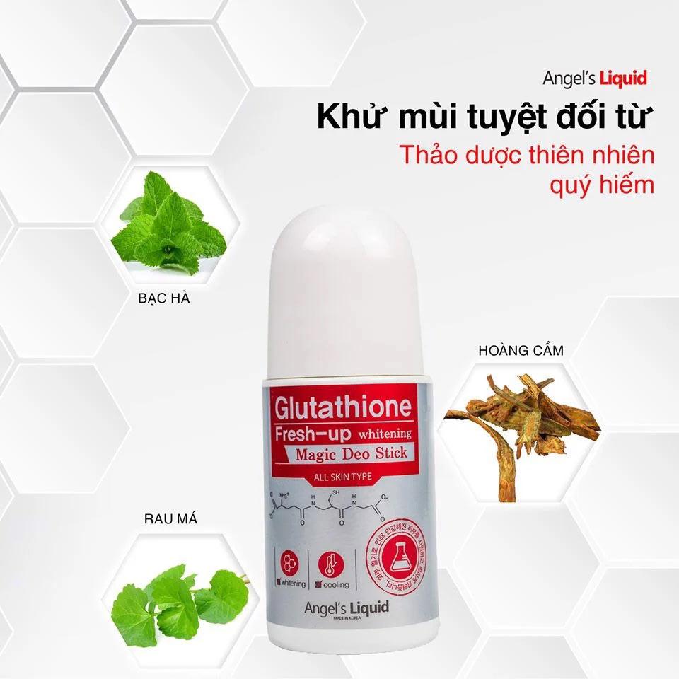 Lăn Khử Thâm Angel's Liquid Sáng Da Vùng Dưới Cánh Tay Glutathione Fresh-Up Whitening Magic Deo Stick 60ml
