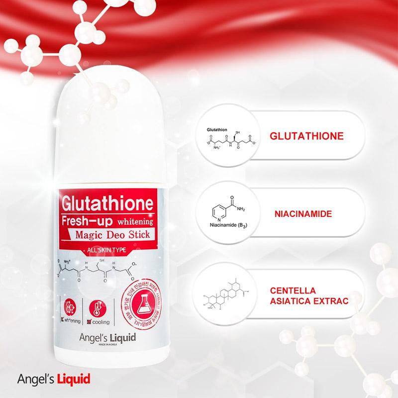Lăn Khử Thâm Angel's Liquid Sáng Da Vùng Dưới Cánh Tay Glutathione Fresh-Up Whitening Magic Deo Stick