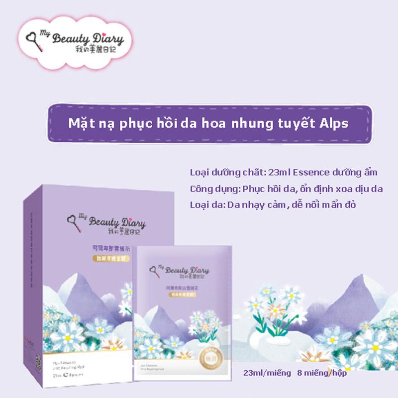 Mặt Nạ My Beauty Diary Hoa Nhung Tuyết Phục Hồi Da Alps Edelweiss Ultra Repairing Mask 23ml
