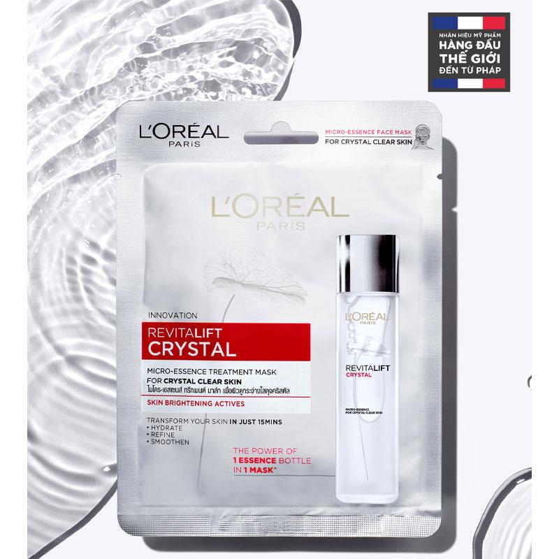 Mặt Nạ L'Oreal Dưỡng Da Pha Lê Trắng Sáng Revitalift Crystal Micro-Essence Treatment Mask 1 Miếng