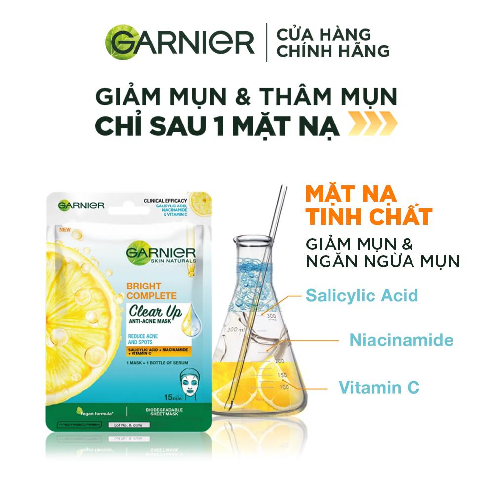 Mặt Nạ Garnier Vitamin C & Salicylic Acid Giảm Mụn, Sáng Da 23g