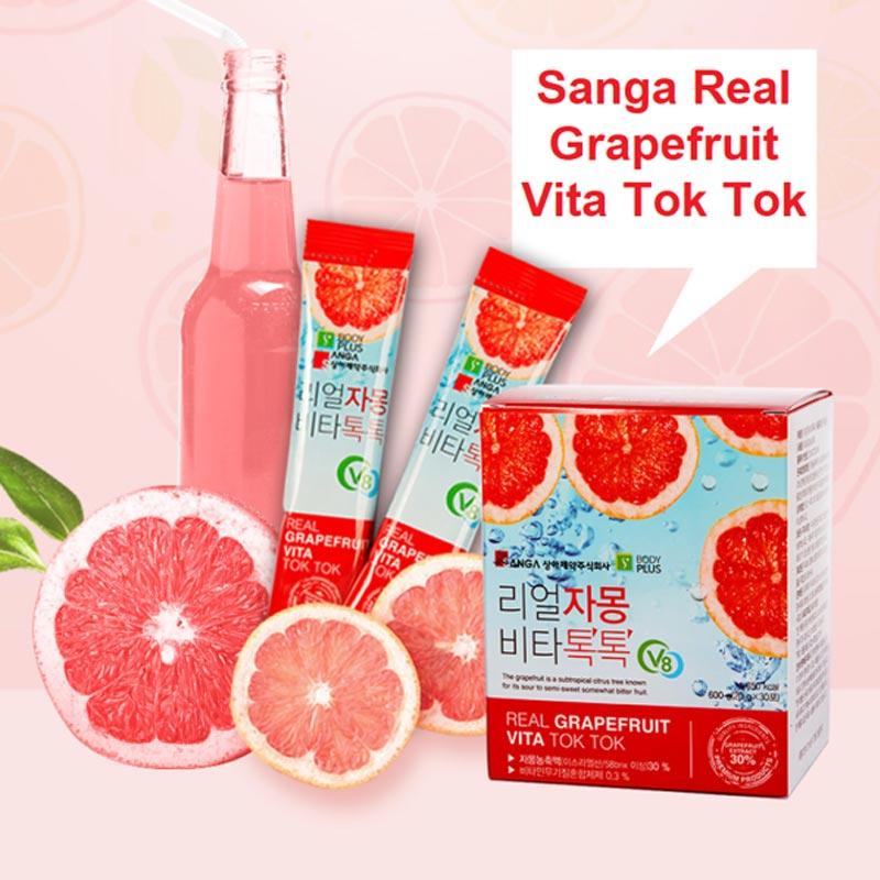 Nước Ép Bưởi Sanga Hỗ Trợ Giảm Cân, Làm Đẹp Da Real Grapefruit Vita Tok Tok 20g x 30 Gói