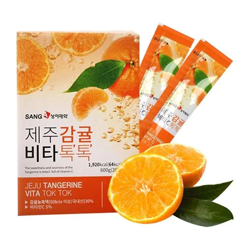 Nước Ép Quýt Sanga Hỗ Trợ Giảm Cân, Làm Đẹp Da Jeju Tangerine Vita Tok Tok 20g x 30 Gói