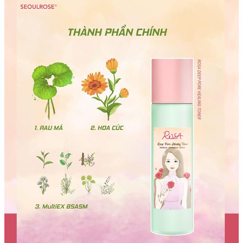 Nước Hoa Hồng SeoulRose Làm Sạch Sâu & Dịu Da Rosa Deep Pore Healing Toner 1