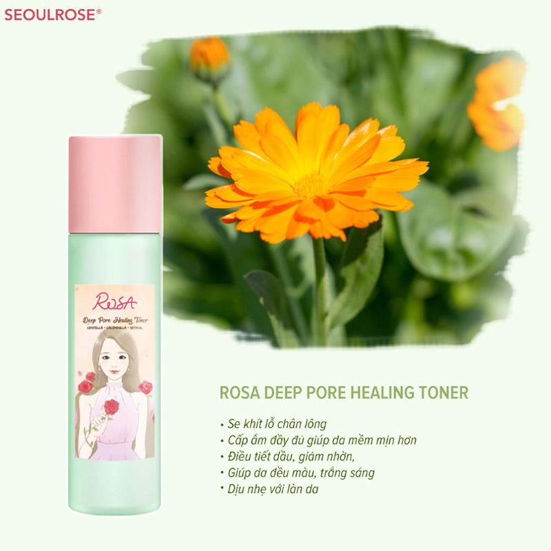 Công dụng Nước Hoa Hồng SeoulRose Làm Sạch Sâu & Dịu Da Rosa Deep Pore Healing Toner 120ml