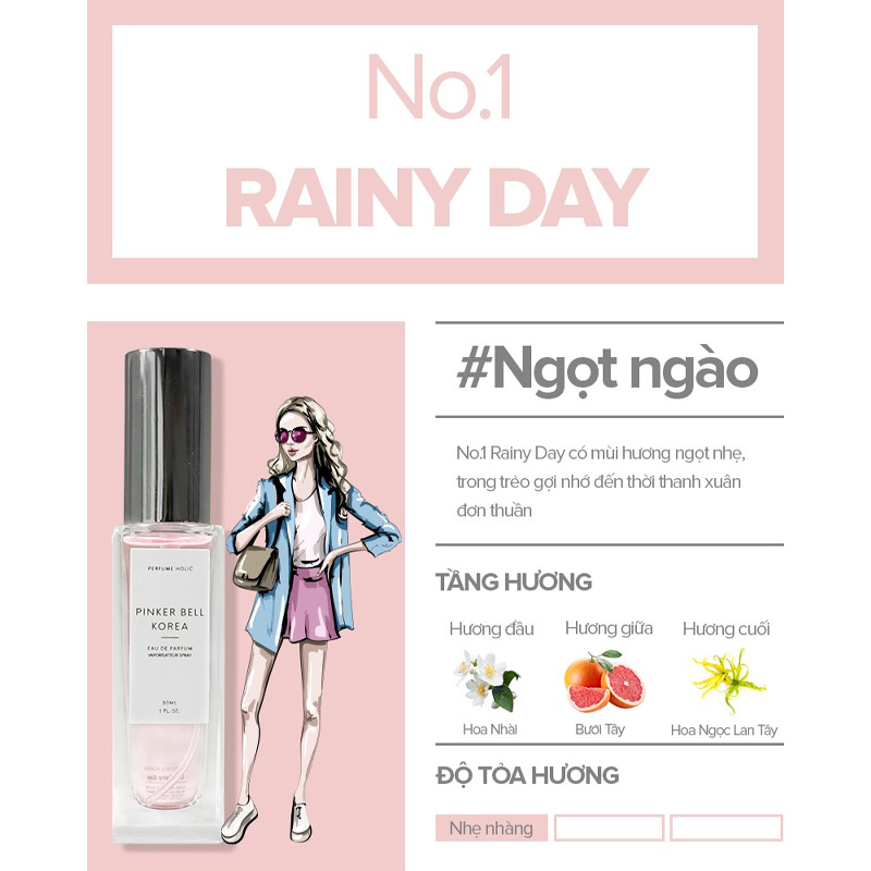 Nước Hoa Pinker Bell 01 Rainy Day EDP 30ml