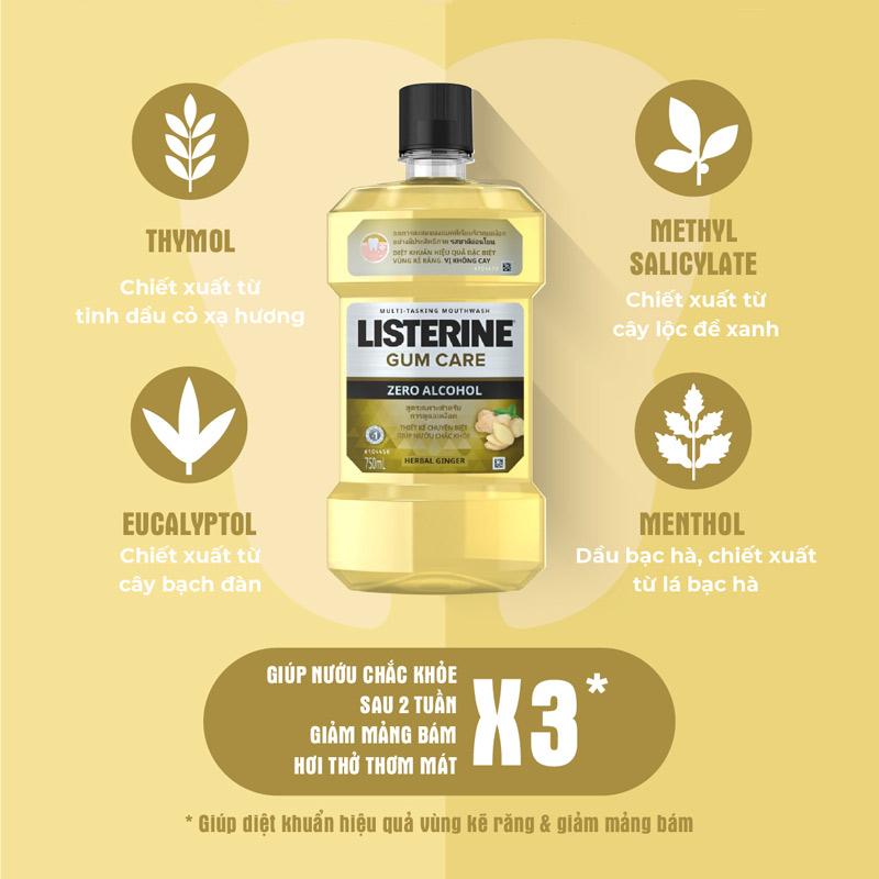 Nước Súc Miệng Listerine Giúp Nướu Chắc Khỏe Không Cay 750ml