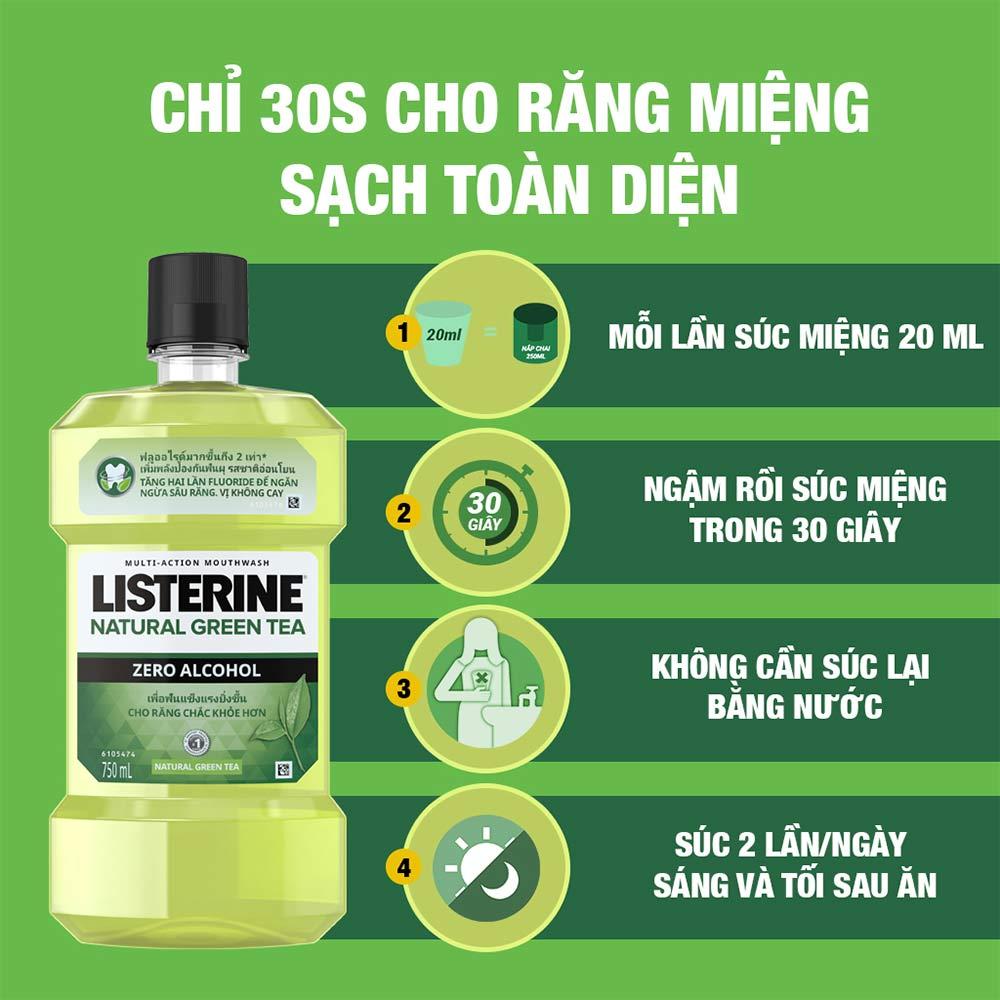 HDSD Nước Súc Miệng Listerine Trà Xanh Ngừa Sâu Răng