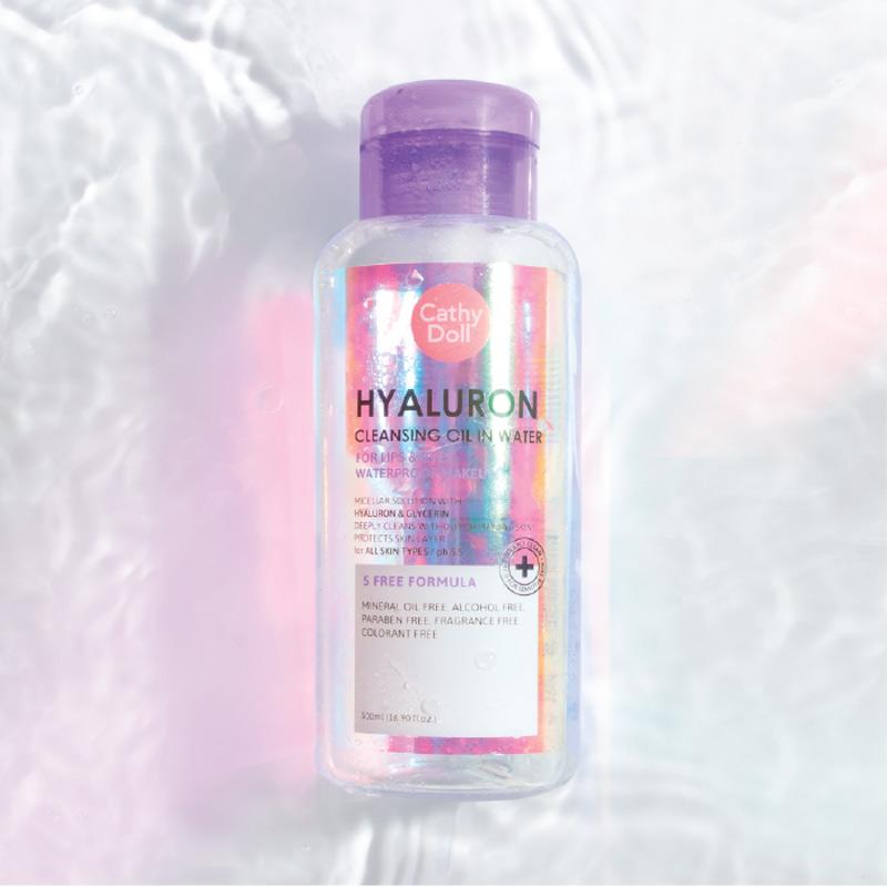 Nước Tẩy Trang Pha Dầu Cathy Doll Giữ Ẩm Da Hyaluron Cleasing Oil In Water 500ml