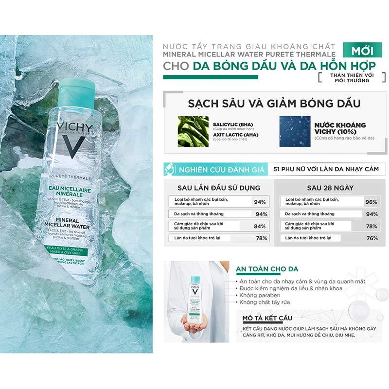 Nước Tẩy Trang Vichy Cho Da Bóng Dầu Và Da Hỗn Hợp Pureté Thermale Mineral Micellar Water For Combination To Oily Skin