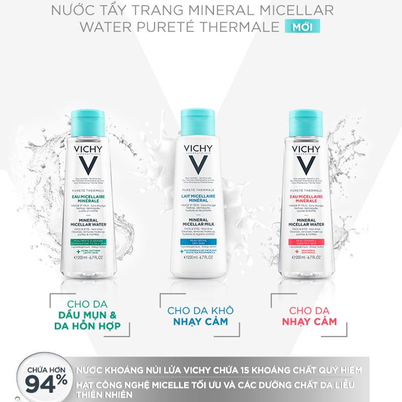 Nước Tẩy Trang Vichy Pureté Thermale Mineral Micellar Water MỚI