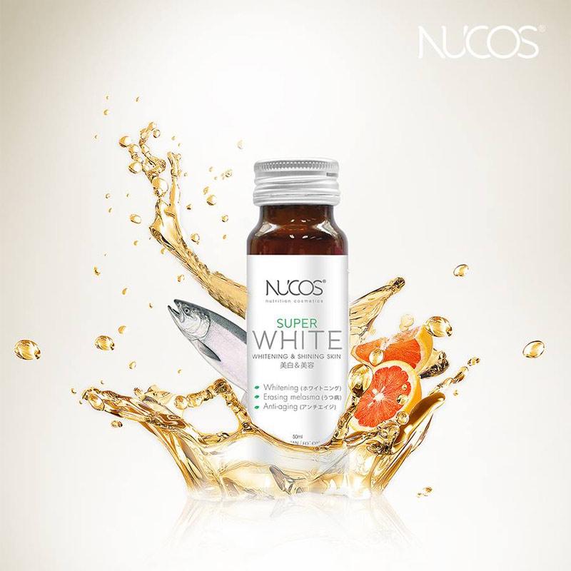 Nước Uống NUCOS Dưỡng Sáng Da Super White Whitening & Shining Skin (50ml x 10 Chai)