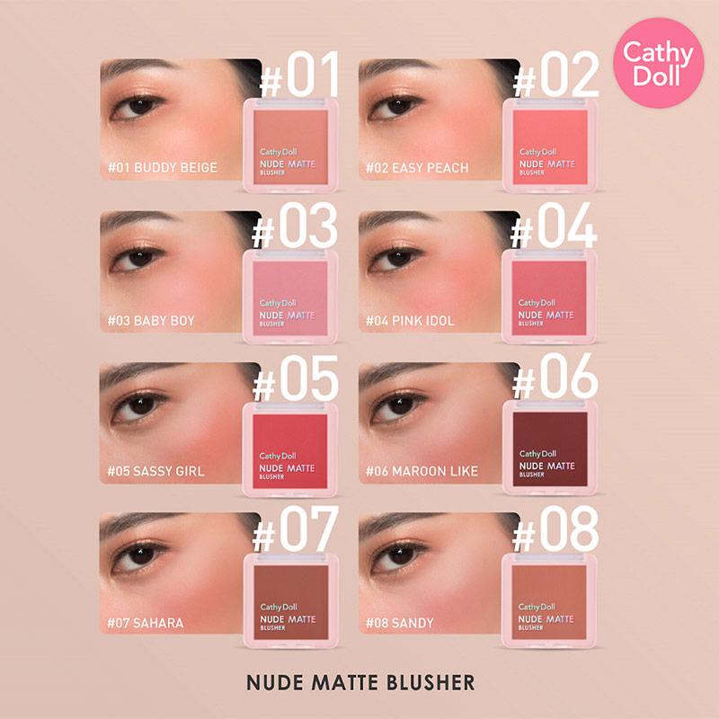 Bảng màu Phấn Má Hồng Cathy Doll Nude Matte Blusher 6g