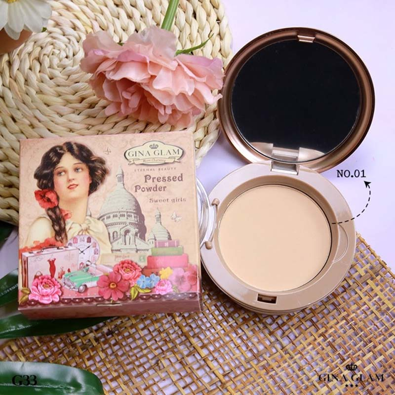 Phấn Nền Gina Glam Pressed Powder Sweet Girls 15g màu 01