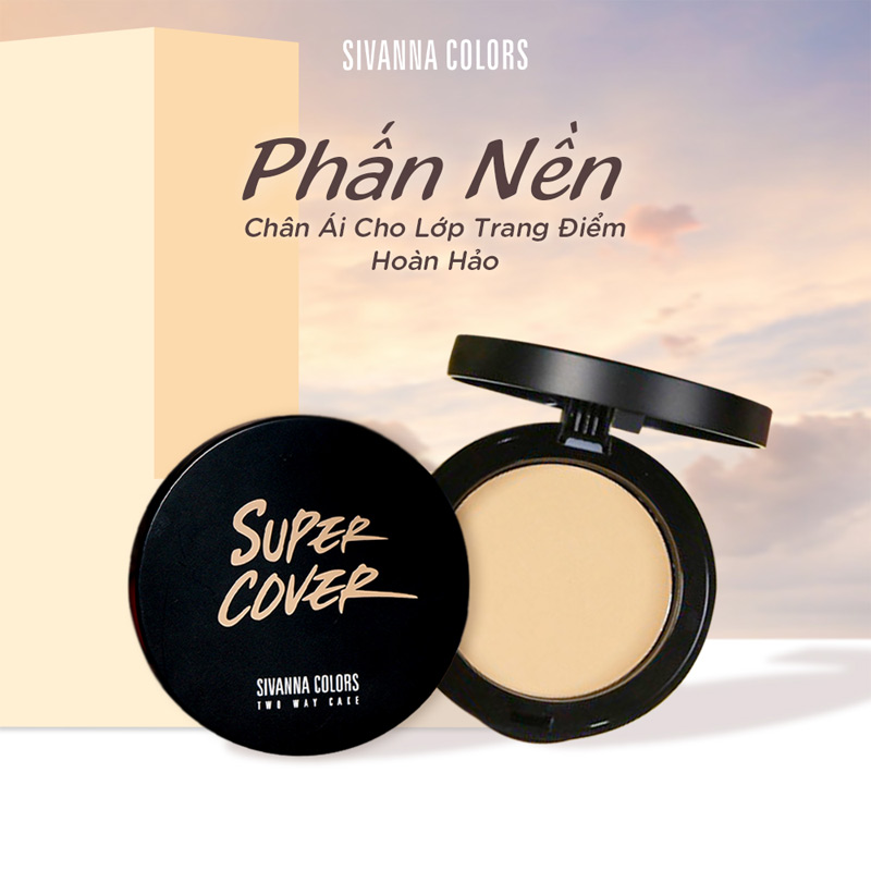 Phấn Nền Sivanna Colors Super Cover Two Way Cake 10g