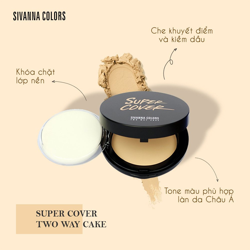 Công dụng Phấn Nền Sivanna Colors Super Cover Two Way Cake 10g