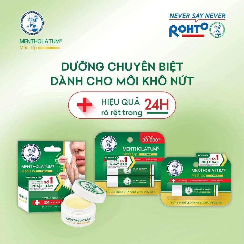 Son Dưỡng Môi Rohto Chuyên Biệt Cho Môi Khô, Nứt Nẻ Mentholatum Medi Lip Stick