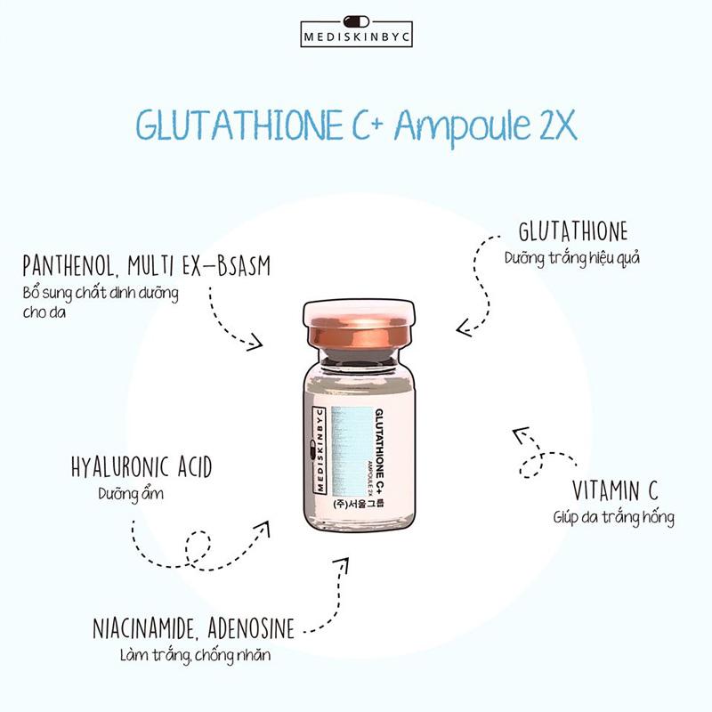 Tinh Chất MediskinbyC Làm Sáng Da, Mờ Thâm Glutathione C + Ampoule 2 Lọ X 8ml