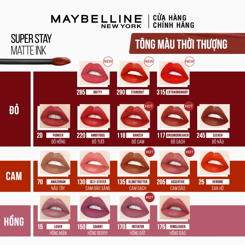 Full bảng màu Son Kem Lì 16h Lâu Trôi Maybelline Superstay Matte Ink Limited Edition 5ml
