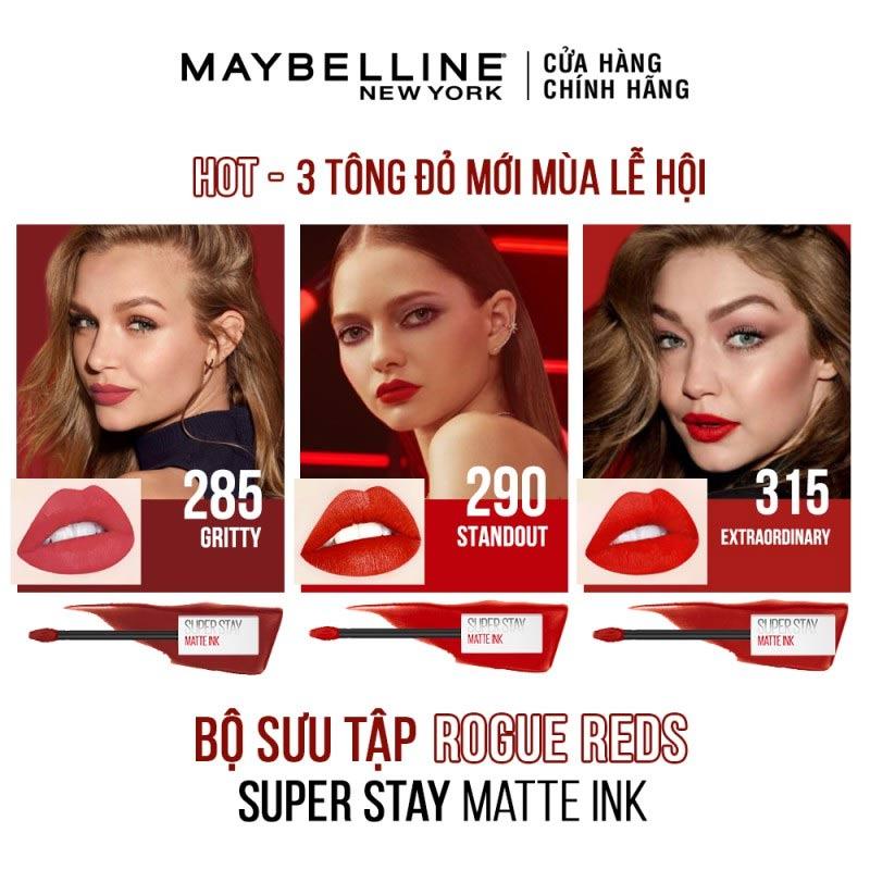 Bảng màu mới Son Kem Lì 16h Lâu Trôi Maybelline Superstay Matte Ink Limited Edition 5ml