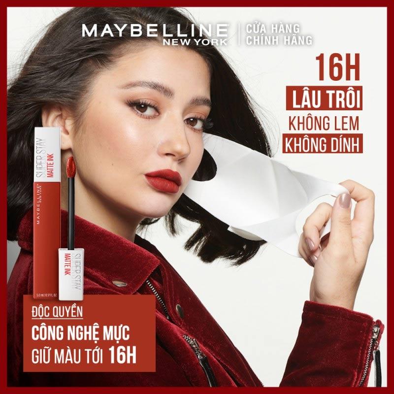 Độ bền màu Son Kem Lì 16h Lâu Trôi Maybelline Superstay Matte Ink Limited Edition 5ml