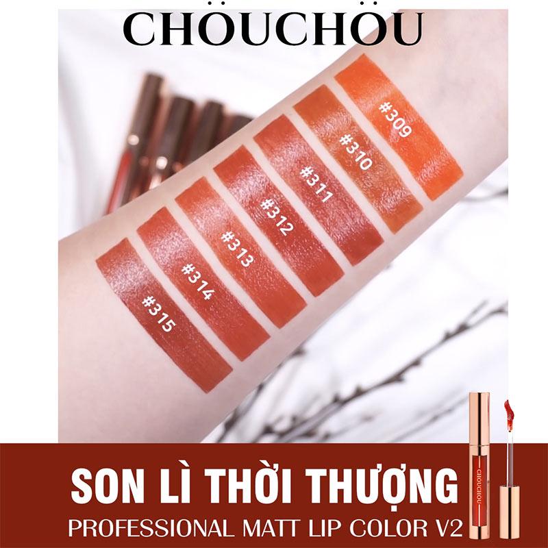 swatch tay Son Kem Lì Chou Chou Professional Matt Lip Color 5g