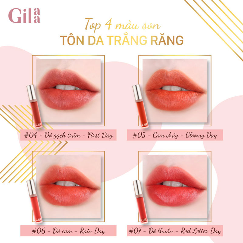 Bảng màu Son Kem Lì Gilaa Long Wear Lip Cream 5g Hasaki