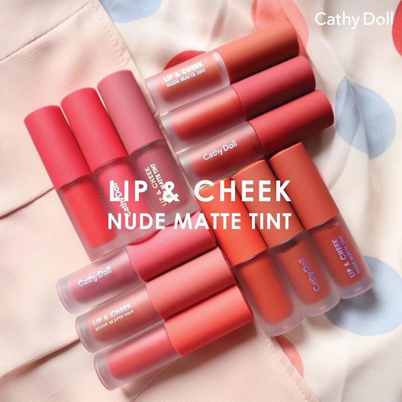 Son Kem Và Má Hồng Cathy Doll Lip & Cheek Nude Matte Tint 3.5g Hasaki