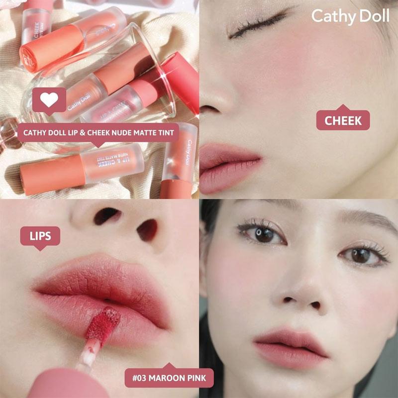 Test màu Son Kem Và Má Hồng Cathy Doll Lip & Cheek Nude Matte Tint 3.5g