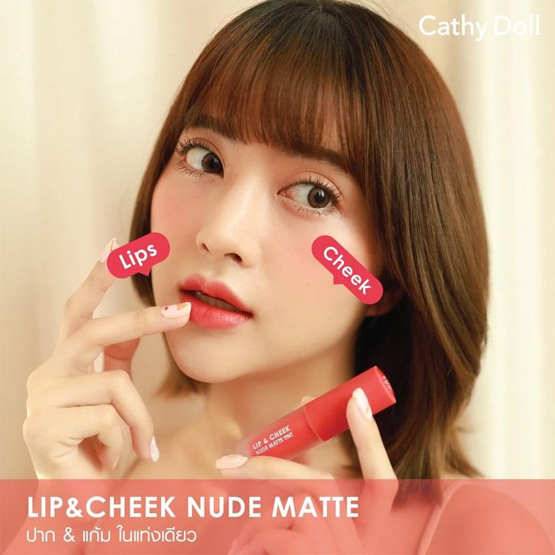 Son Kem & Má Hồng Cathy Doll Lip & Cheek Nude Matte Tint 3.5g