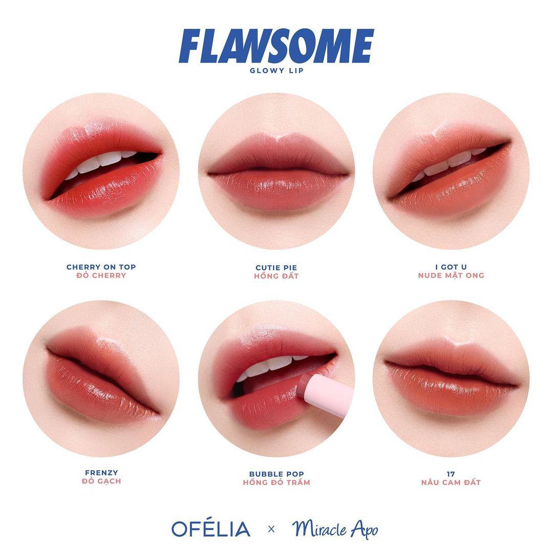 Bảng màu Miracle Apo x Ofélia Flawsome Glowy Lip 2g