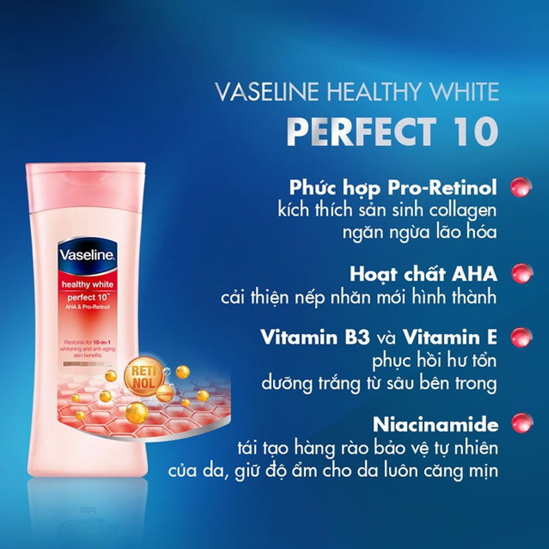 Sữa Dưỡng Thể Trắng Da Healthy White Perfect 10 AHA & Pro-Retinol