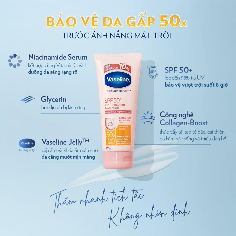 Thành phần Sữa Dưỡng Thể Vaseline Dưỡng Sáng Và Chống Nắng Da
