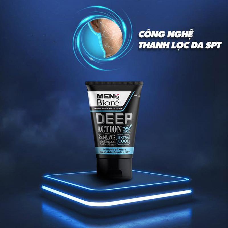 Sữa Rửa Mặt Bioré Cho Nam Hạt Tác Động Kép Mát Lạnh Double Scrub Facial Foam - Deep Action 100g