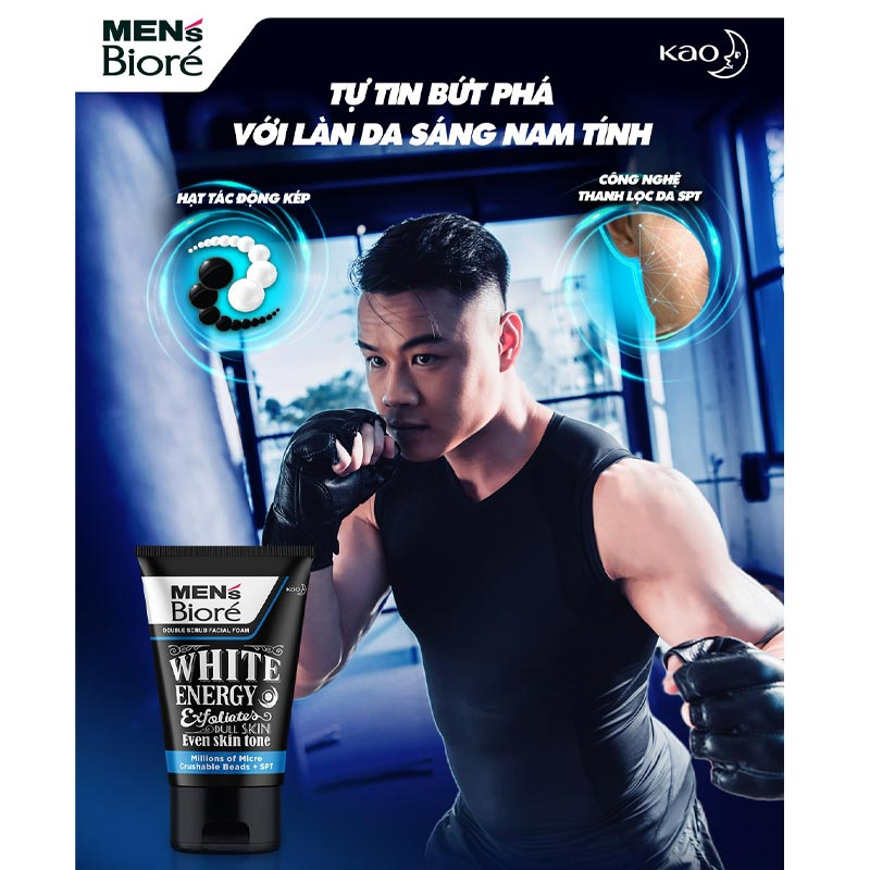 Sữa Rửa Mặt Bioré Cho Nam Hạt Tác Động Kép Sáng Da Double Scrub Facial Foam - White Energy 100g