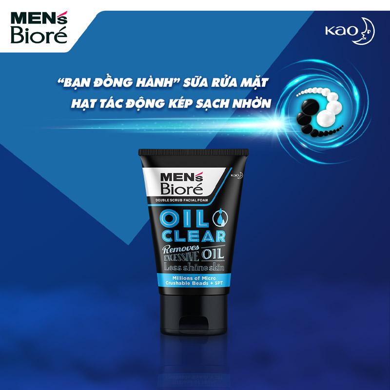 Sữa Rửa Mặt Bioré Cho Nam Hạt Tác Động Kép Sạch Nhờn Double Scrub Facial Foam - Oil Clear 100g