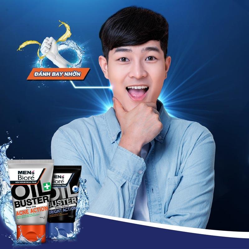 Sữa Rửa Mặt Bioré Cho Nam Sạch Nhờn Giảm Mụn Oil Buster White Clay Acne Action