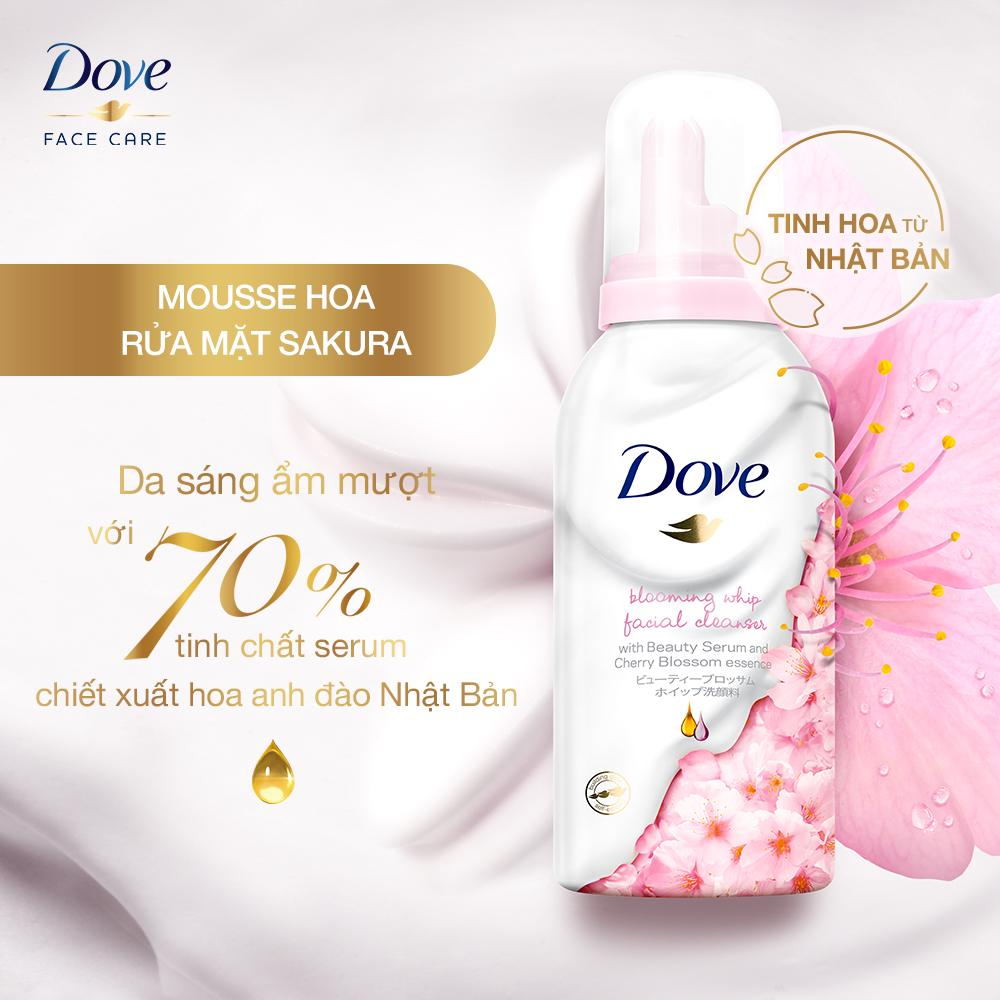 Sữa Rửa Mặt Dove Tạo Bọt Dưỡng Ẩm Tinh Chất Hoa Anh Đào 150g
