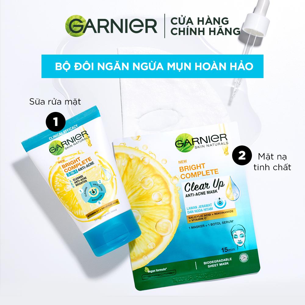 Sữa Rửa Mặt Garnier Bright Complete 3 in 1 Foam Anti Acne