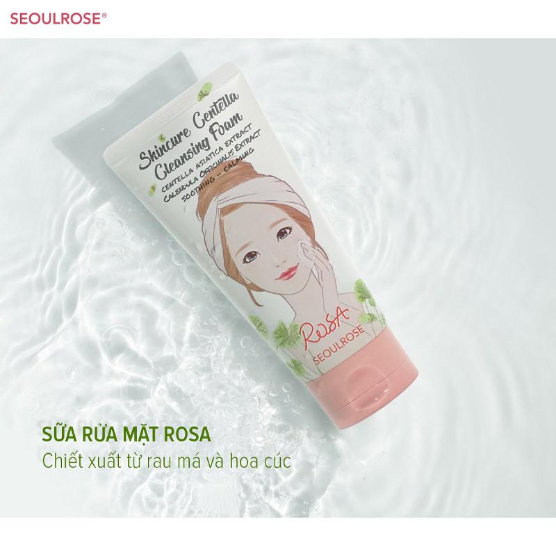 Sữa Rửa Mặt SeoulRose Rau Má & Hoa Cúc Dịu Da Rosa Skincure Centella Cleansing Foam 120ml
