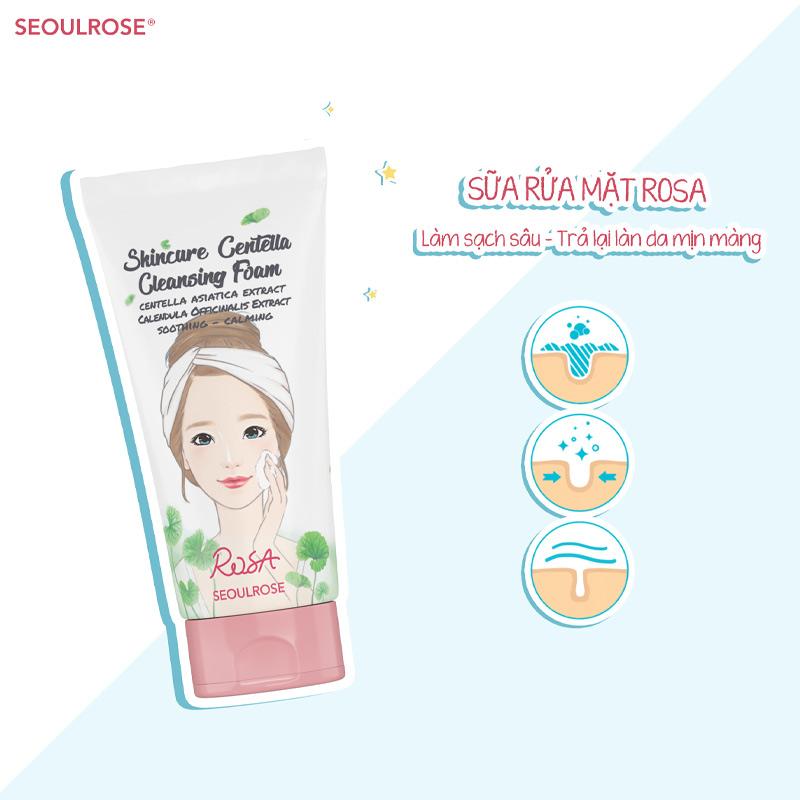 Công dụng Sữa Rửa Mặt SeoulRose Rau Má & Hoa Cúc Dịu Da Rosa Skincure Centella Cleansing Foam