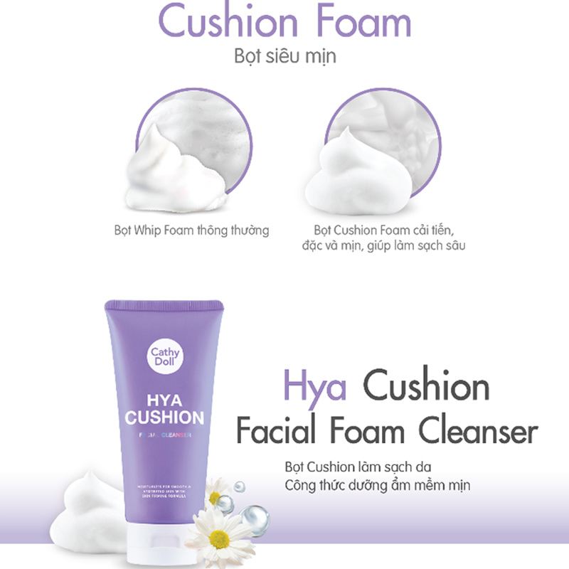 Sữa Rửa Mặt Tạo Bọt Cathy Doll Dưỡng Ẩm Da Hya Cushion Facial Foam Cleanser