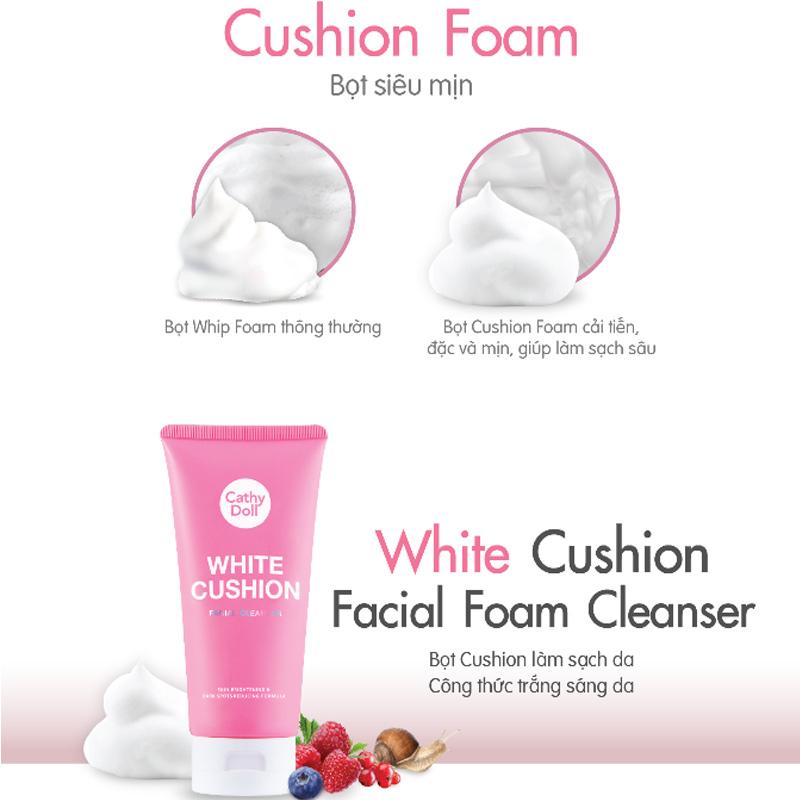 Sữa Rửa Mặt Tạo Bọt Cathy Doll Sáng Da White Cushion Facial Foam Cleanser