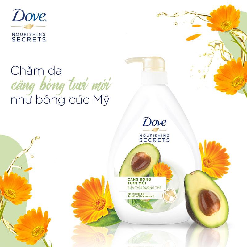 Sữa Tắm Dove Căng Bóng Tươi Mới Từ Tinh Dầu Bơ & Hoa Cúc 530g